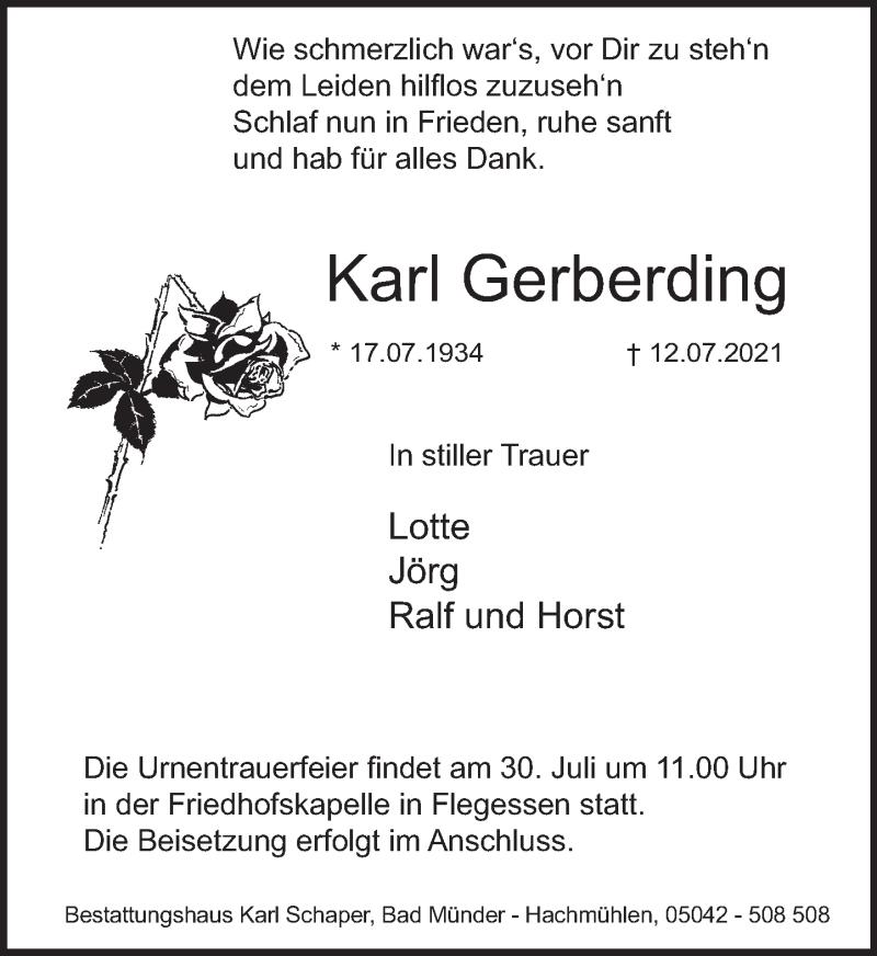 Traueranzeige für Karl Gerberding vom 24.07.2021 aus Neue Deister-Zeitung