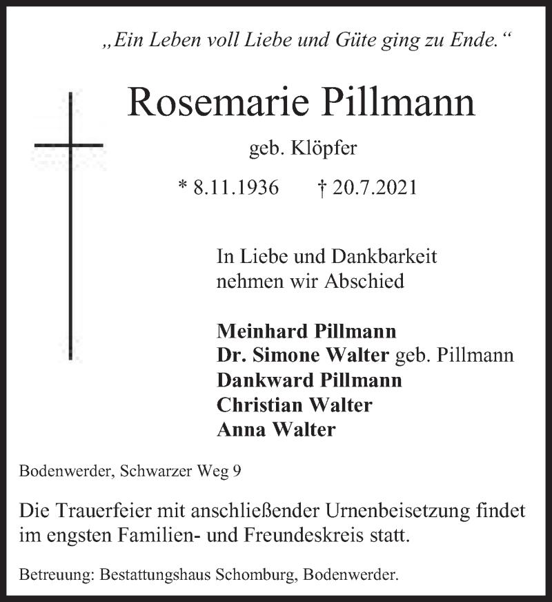 Traueranzeige für Rosemarie Pillmann vom 24.07.2021 aus Deister- und Weserzeitung
