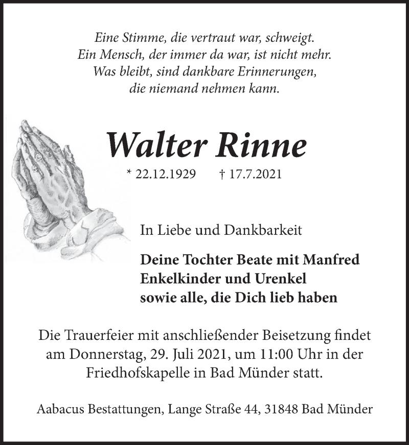 Traueranzeige für Walter Rinne vom 23.07.2021 aus Neue Deister-Zeitung