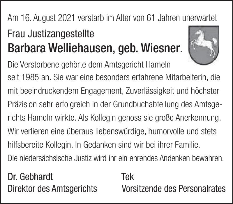 Traueranzeige für Barbara Welliehausen vom 28.08.2021 aus Deister- und Weserzeitung