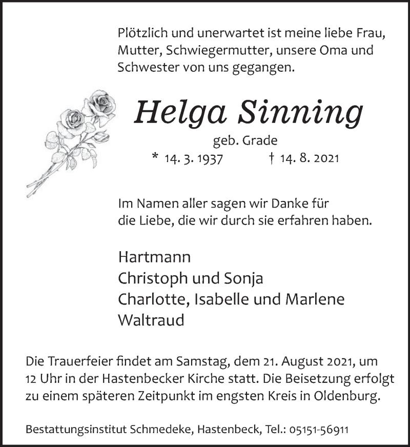 Traueranzeige für Helga Sinning vom 18.08.2021 aus Deister- und Weserzeitung