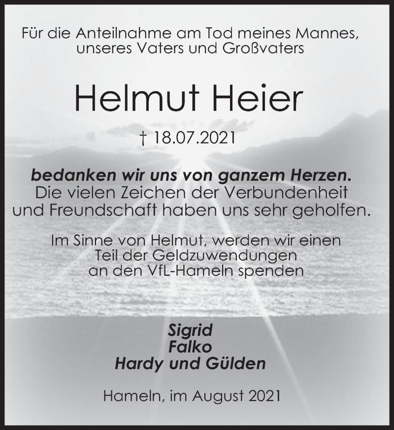 Traueranzeige für Helmut Heier vom 14.08.2021 aus Deister- und Weserzeitung
