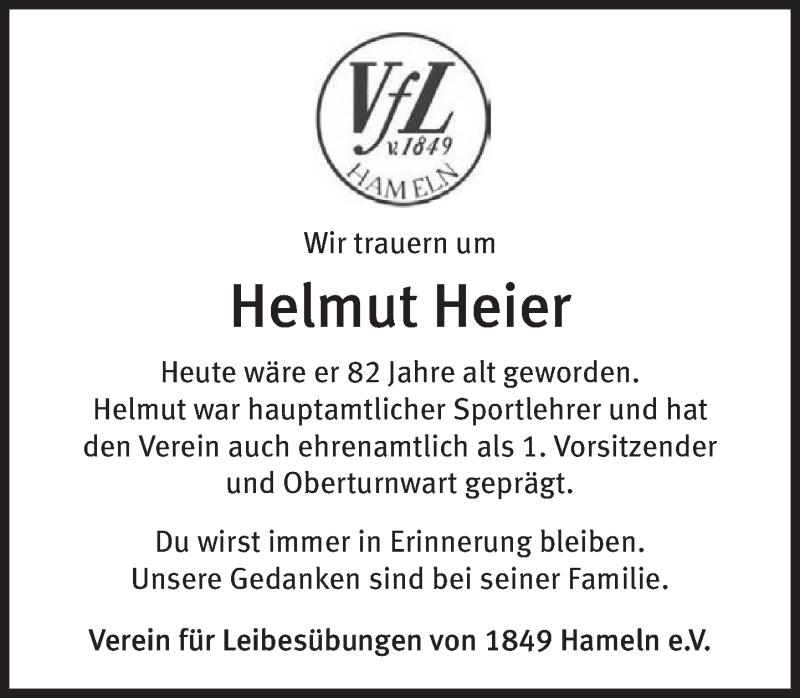 Traueranzeige für Helmut Heier vom 30.08.2021 aus Deister- und Weserzeitung
