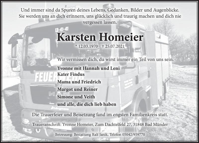 Traueranzeige für Karsten Homeier vom 16.08.2021 aus Neue Deister-Zeitung
