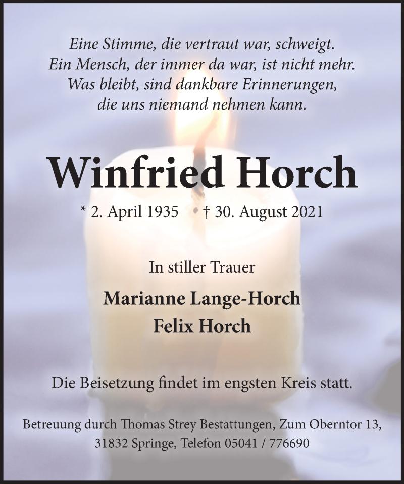 Traueranzeige für Winfried Horch vom 04.09.2021 aus Neue Deister-Zeitung