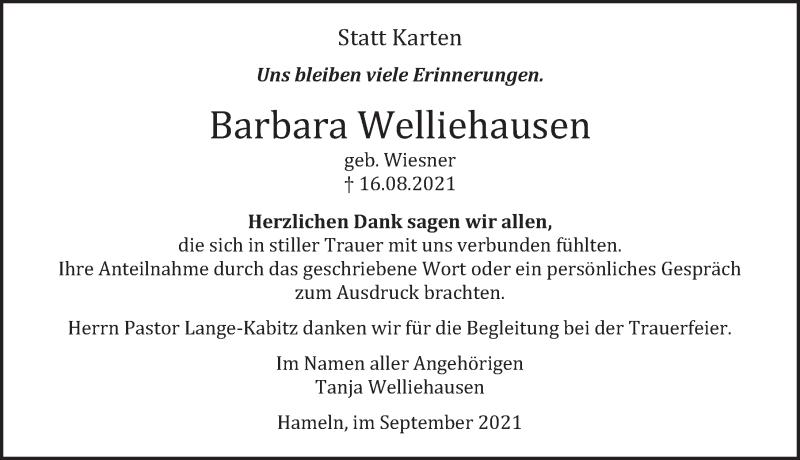 Traueranzeige für Barbara Welliehausen vom 11.09.2021 aus Deister- und Weserzeitung