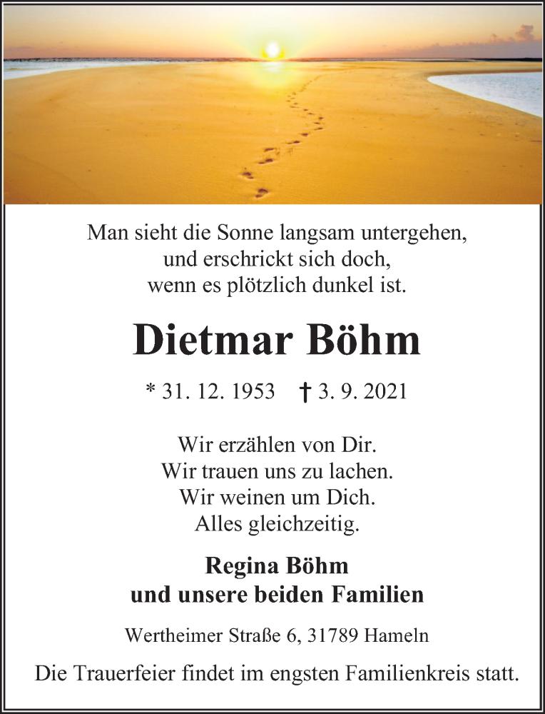 Traueranzeige für Dietmar Böhm vom 11.09.2021 aus Deister- und Weserzeitung