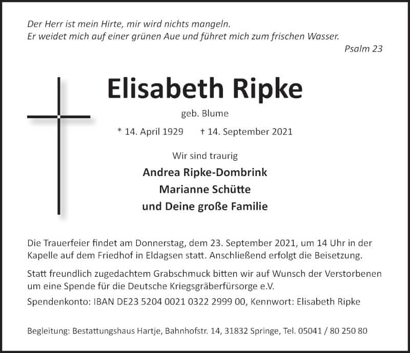 Traueranzeige für Elisabeth Ripke vom 18.09.2021 aus Neue Deister-Zeitung