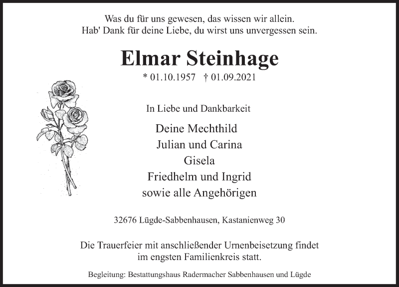 Traueranzeige für Elmar Steinhage vom 11.09.2021 aus Deister- und Weserzeitung
