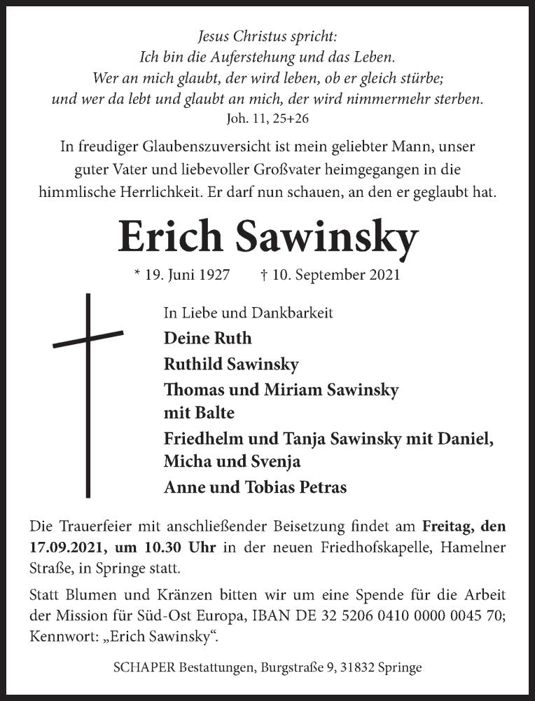 Traueranzeige für Erich Sawinsky vom 15.09.2021 aus Neue Deister-Zeitung