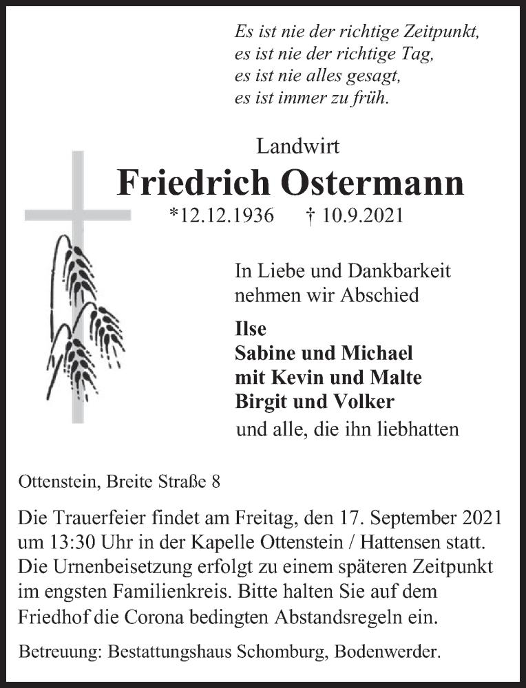 Traueranzeige für Friedrich Ostermann vom 14.09.2021 aus Deister- und Weserzeitung