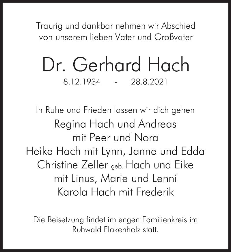 Traueranzeige für Gerhard Hach vom 11.09.2021 aus Deister- und Weserzeitung