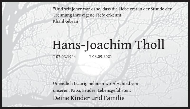 Traueranzeige für Hans-Joachim Tholl vom 11.09.2021 aus Deister- und Weserzeitung