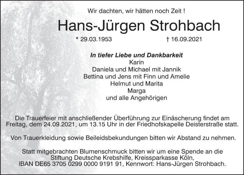 Traueranzeige für Hans-Jürgen Strohbach vom 22.09.2021 aus Deister- und Weserzeitung