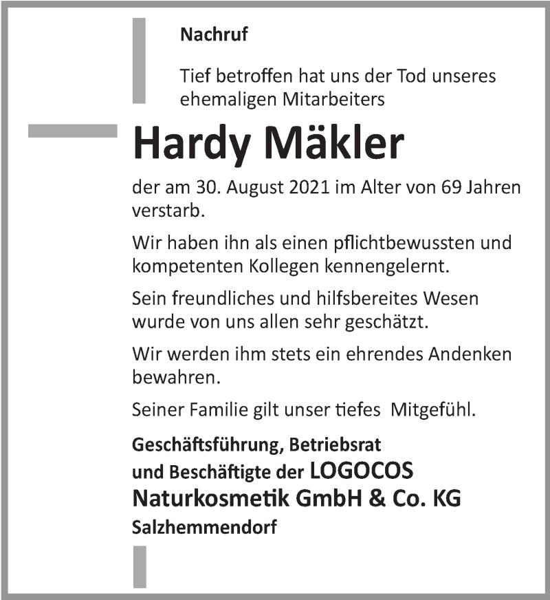 Traueranzeige für Hardy Mäkler vom 11.09.2021 aus Deister- und Weserzeitung