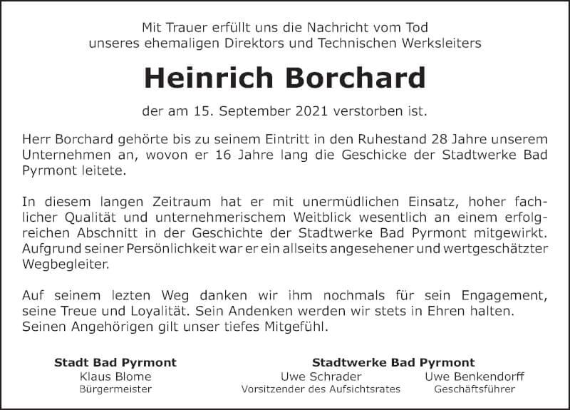 Traueranzeige für Heinrich Borchard vom 25.09.2021 aus Deister- und Weserzeitung
