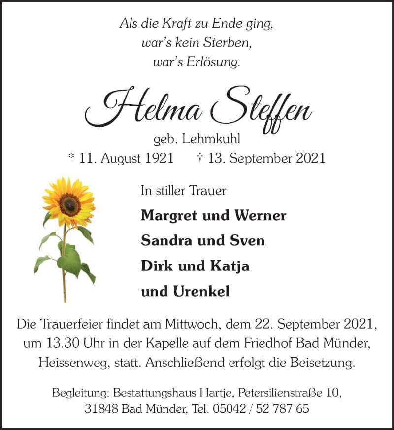 Traueranzeige für Helma Steffen vom 18.09.2021 aus Neue Deister-Zeitung