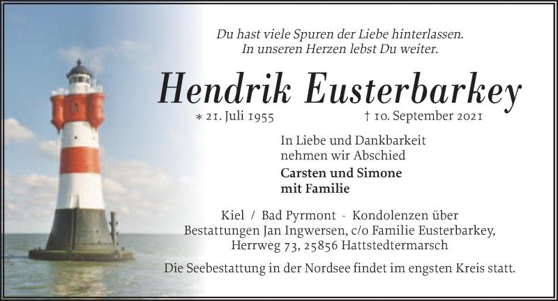 Traueranzeige für Hendrik Eusterbarkey vom 18.09.2021 aus Deister- und Weserzeitung