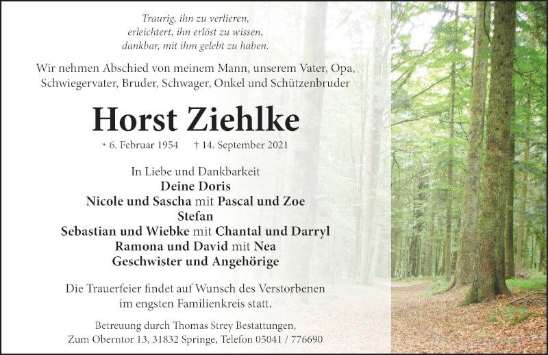 Traueranzeige für Horst Ziehlke vom 18.09.2021 aus Neue Deister-Zeitung