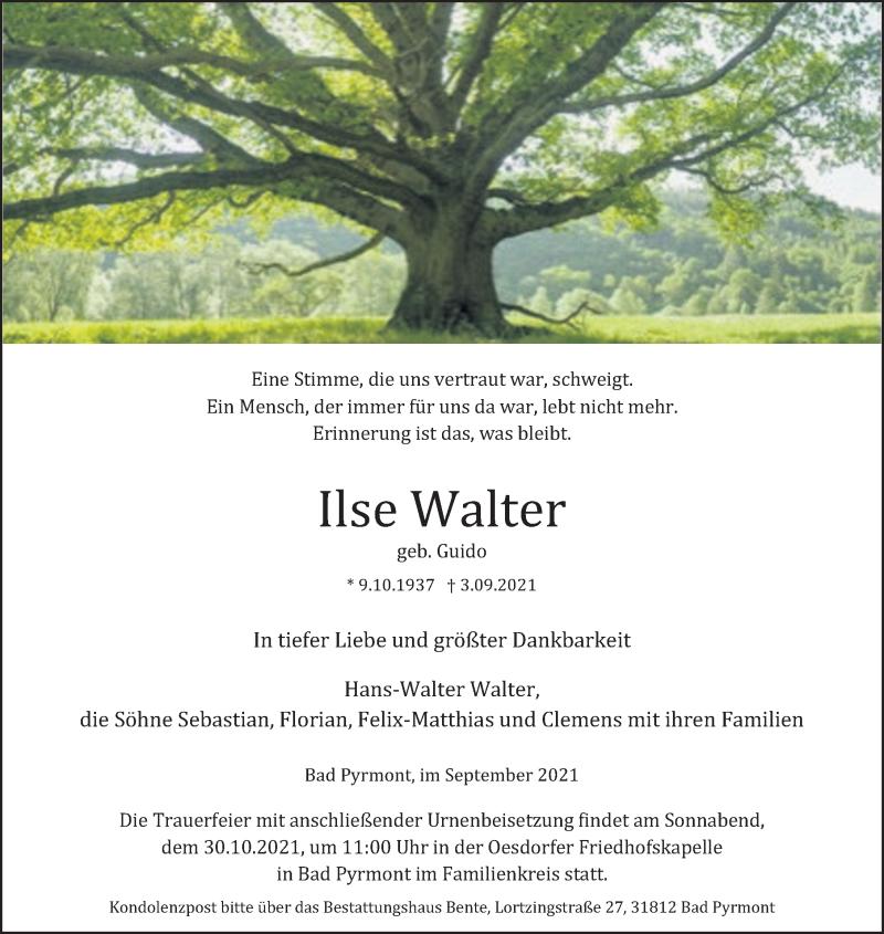 Traueranzeige für Ilse Walter vom 11.09.2021 aus Deister- und Weserzeitung