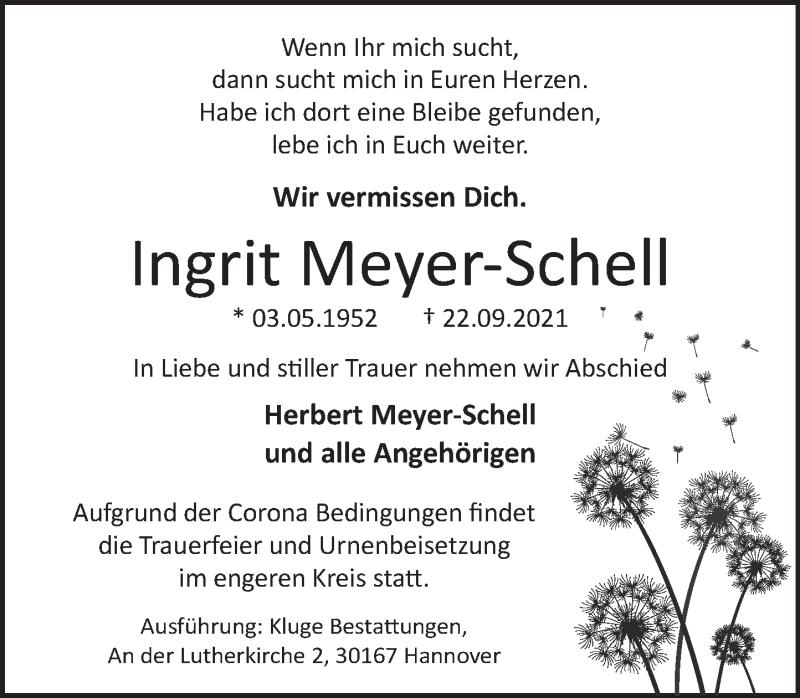 Traueranzeige für Ingrit Meyer-Schell vom 02.10.2021 aus Neue Deister-Zeitung