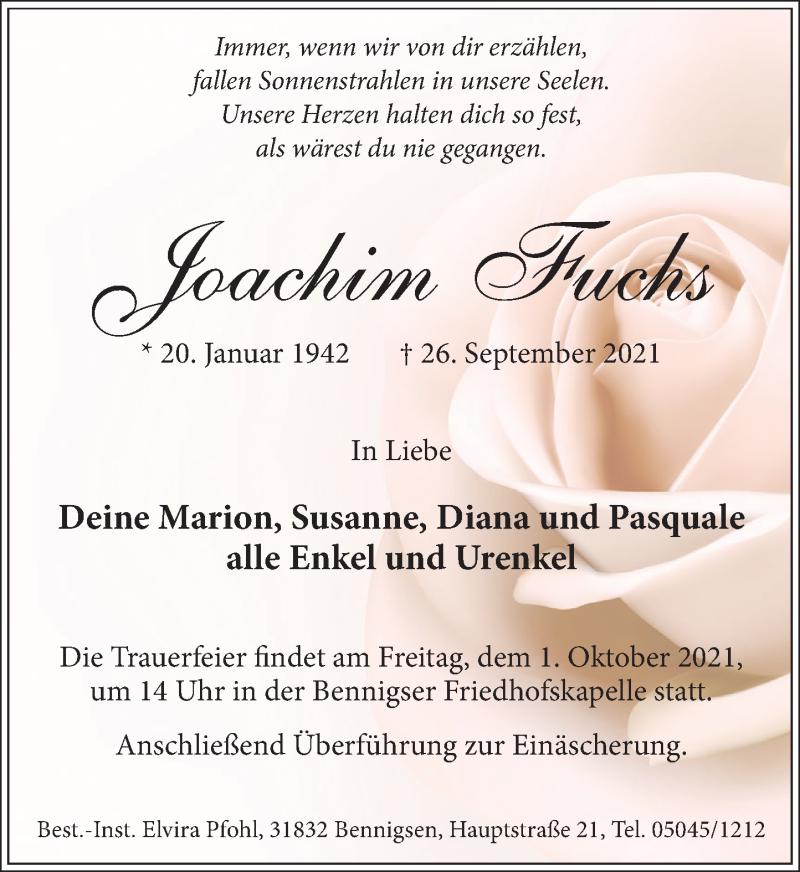 Traueranzeige für Joachim Fuchs vom 28.09.2021 aus Neue Deister-Zeitung