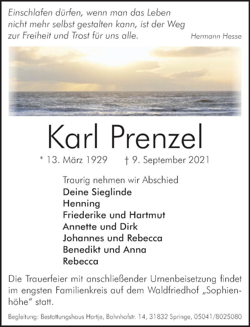 Traueranzeige für Karl Prenzel vom 18.09.2021 aus Neue Deister-Zeitung