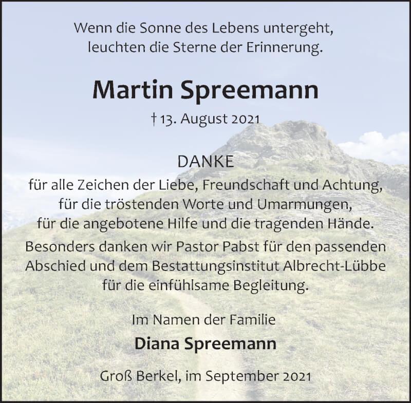 Traueranzeige für Martin Spreemann vom 18.09.2021 aus Deister- und Weserzeitung