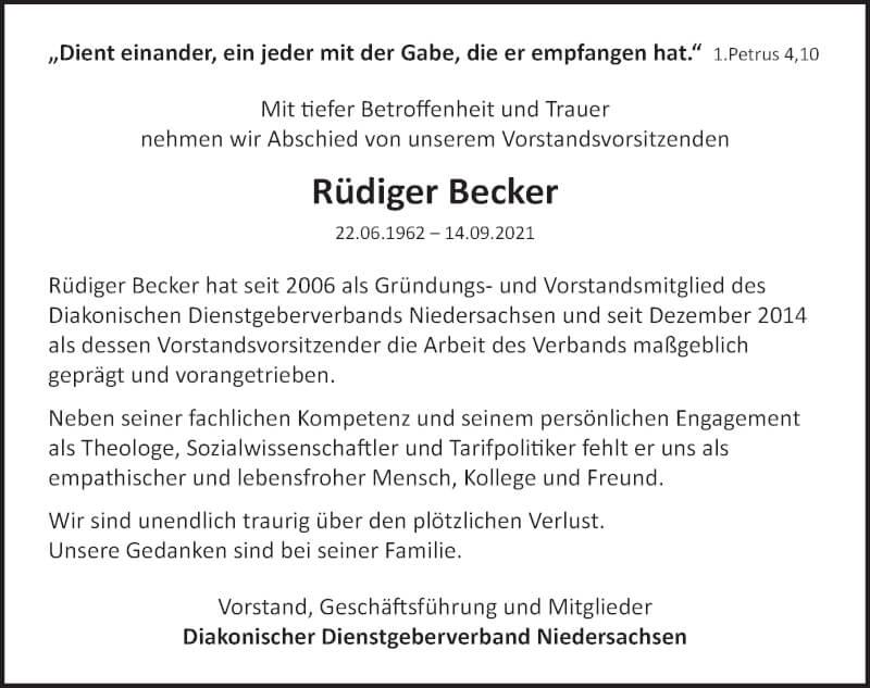 Traueranzeige für Rüdiger Becker vom 20.09.2021 aus Deister- und Weserzeitung